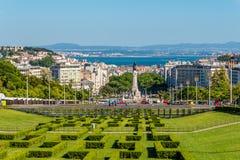 Sikt på Lissabonet från Eduardo VII parkera - Portugal Royaltyfri Fotografi