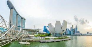 Sikt på Marina Bay i Singapore arkivfoton
