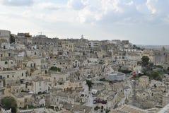 Sikt på Matera, i Basilicata, Italien royaltyfria foton
