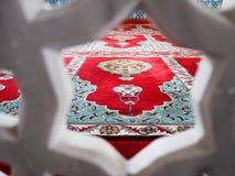 Sikt på mattan i moskén, Turkiet Arkivbild