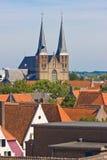 Sikt på medeltida Deventer Arkivbilder