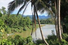 Sikt på Mekongen, Laos Arkivbilder