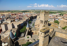 Sikt på mitten av Ujue, Navarre, Spanien Arkivbilder