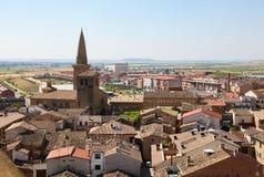 Sikt på mitten av Ujue, Navarre, Spanien Arkivfoto