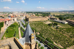Sikt på mitten av Ujue, Navarre, Spanien Royaltyfri Foto
