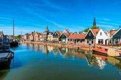 Sikt på Monnickendam Nederländerna Arkivbild