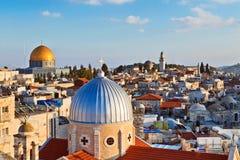 Sikt på n-tak av den gamla staden av Jerusalem Arkivfoto