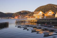 Sikt på Namsos med kajen Royaltyfria Foton