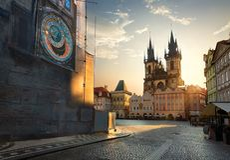 Sikt på Prague chimes fotografering för bildbyråer