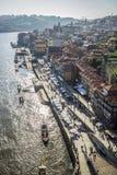 Sikt på Ribeiraen i Porto, Portugal royaltyfri fotografi