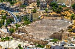 Sikt på Roman Theater i Amman royaltyfria bilder