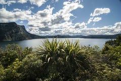 Sikt på sjön Waikaremoana i Nya Zeeland, nordlig ö Arkivbild