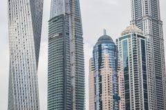Sikt på skyskrapor i Dubai, UAE Arkivfoton
