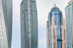 Sikt på skyskrapor i Dubai, UAE Arkivfoto
