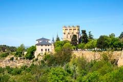 Sikt på slottAlcazar av Segovia, Spanien Royaltyfri Fotografi