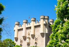 Sikt på slottAlcazar av Segovia, Spanien Arkivbild