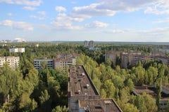Sikt på spökstaden Pripyat Arkivbild