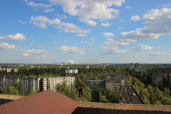Sikt på spökstaden Pripyat, Chornobyl zon Arkivbilder