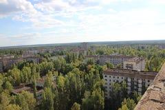 Sikt på spökstaden Pripyat, Chornobyl zon Royaltyfri Fotografi