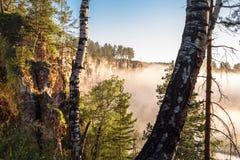 Sikt på stenen som är klippbrants-, och dimma ovanför floden till och med träd Arkivfoton