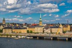 Sikt på Stockholm den gamla staden Gamla Stan i Sverige Arkivbild