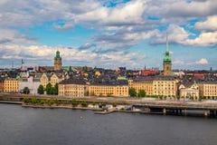 Sikt på Stockholm den gamla staden Gamla Stan i Sverige Royaltyfri Fotografi