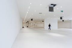 Sikt på stor visningslokal i ett modernt affärscentrum med taket Royaltyfri Bild