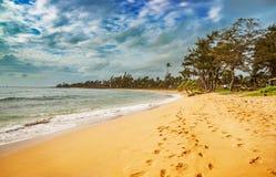 Sikt på stranden på den Kauai ön av Hawaii Arkivfoto