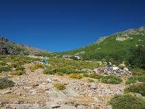 Sikt på tält för fristadOrtu di Piobbu myra, Frankrike, Corse, Haut Cor Royaltyfri Fotografi