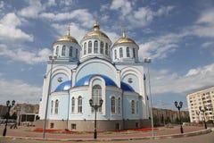 Sikt på templet av den Kazan symbolen av modern av guden i Saransk, Repulic Mordovia Arkivbild