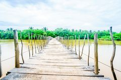 Sikt på träbron över den Rekawa lagun bredvid Tangalle, Sri Lanka royaltyfri foto