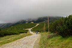 Sikt på väg till den ÅšnieÅ ¼kaen, jätte- berg, Polen Royaltyfria Foton