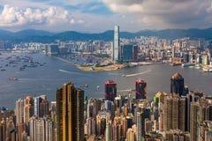 Sikt på Victoria Harbour i Hong Kong royaltyfria bilder