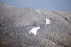 Sikt på vinterberget med skidåkninglutningen. Arkivbild