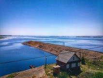 Sikt på Volgaet River Royaltyfri Bild