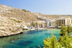 Sikt på xlendi, en liten by på ön av Gozo Arkivbild