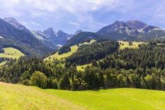 Sikt på fjällängarna, Schweiz Royaltyfria Bilder