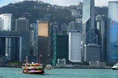 Sikt på Hong Kong från Victoria Harbor Arkivfoto
