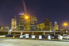 Sikt på i stadens centrum Houston vid natt Arkivbilder