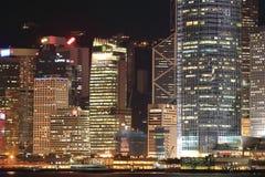 Sikt på natten Hong Kong Royaltyfri Fotografi