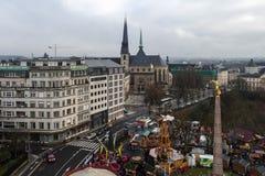 Sikt på vintern Luxembourg, Europa Arkivbilder