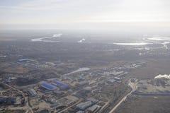 Sikt Rostov-On-Don ombord flygplanet Arkivbilder