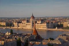 Sikt till Budapest, Ungern, från funiculor arkivbild