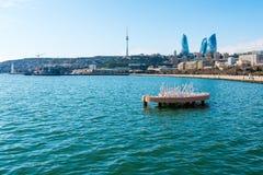 Sikt till den Baku fjärden Arkivbilder