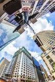 Sikt till den historiska och moderna skyskrapan i i stadens centrum Houston Arkivfoto