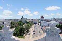 Sikt till den Jose Marti fyrkanten i Cienfuegos Royaltyfria Foton