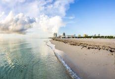 Sikt till den södra stranden i Miami arkivbilder
