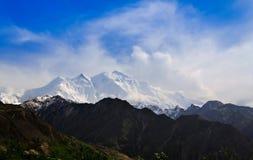 Sikt till det Rakaposhi maximumet, Karakorum berg Pakistan Arkivbilder