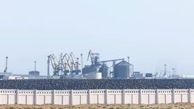 Sikt till hamnstadtimelapsen i stad av Aktau Kasakhstan stock video
