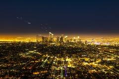 Sikt till i stadens centrum Los Angeles med zoomeffekt Arkivbild